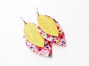 Yellow Braided Pink Bouquet Double Layer Leaf Vegan Leather Earring