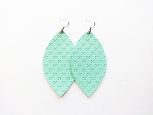 Minty Fresh Leaf Vegan Leather Earrings