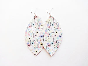 100 Blooms Floral Leaf Vegan Leather Earrings