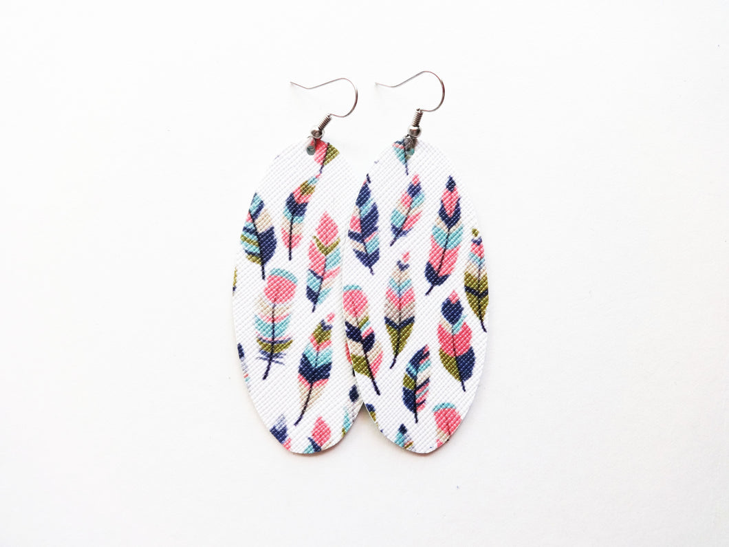 Faux Feathers Oval Vegan Leather Earring
