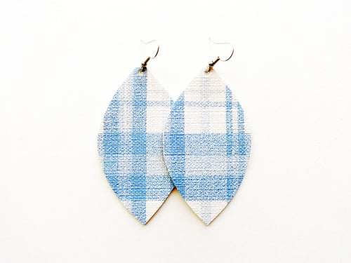 Blue Tartan Plaid Leaf Vegan Leather Earrings