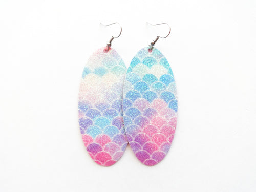 Rainbow Glitter Mermaid Oval Vegan Leather Earring