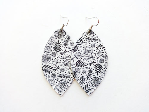 Black and White Floral Leaf Vegan Leather Earrings