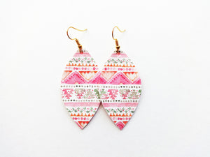 Spring Break Leaf Vegan Leather Earring