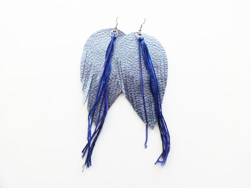Metallic Blue Tassel Fringe Feather Genuine Leather Earrings