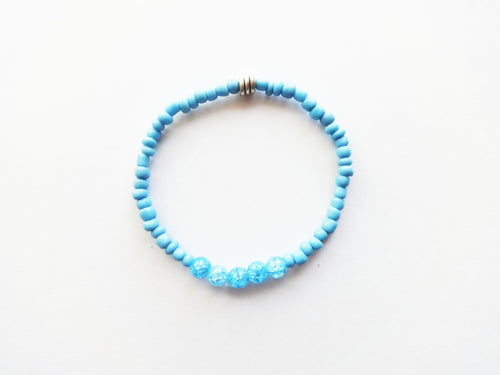 Baby Blue Stacker Beaded Bracelet