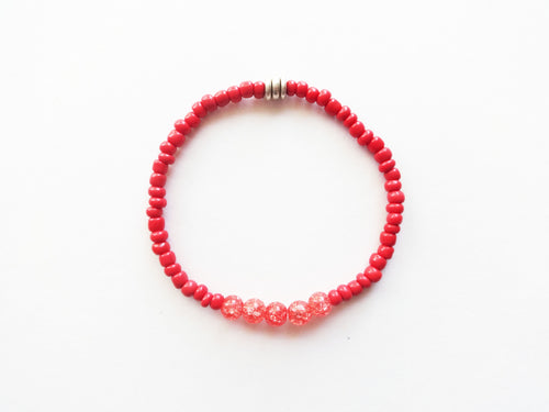 Rust Red Orange Stacker Beaded Bracelet