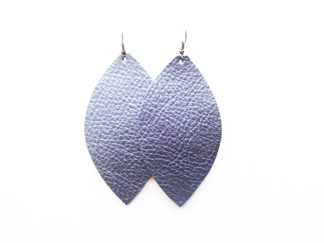 Metallic Blue Leaf Genuine Leather Earring