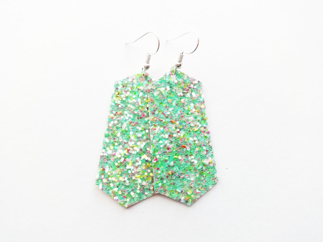 Sea Glass Green Glitter Jewel Vegan Leather Earring