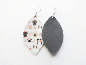 Ermergard Puppers Leaf Vegan Leather Earrings