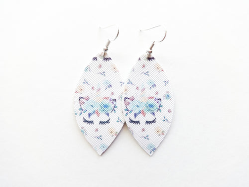 Blue Unicorn Leaf Vegan Leather Earrings