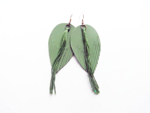 Avocado Green Tassel Fringe Feather Genuine Leather Earrings