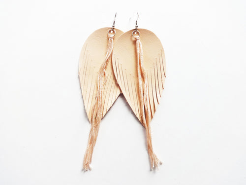 Peach Tassel Fringe Feather Genuine Leather Earrings
