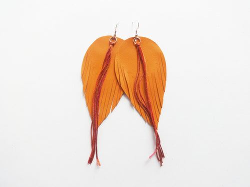 Orange Tassel Fringe Feather Genuine Leather Earrings