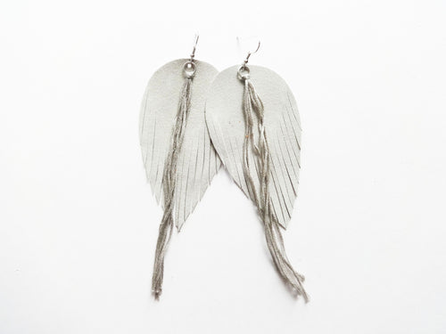 Silver Tassel Fringe Feather Genuine Leather Earrings