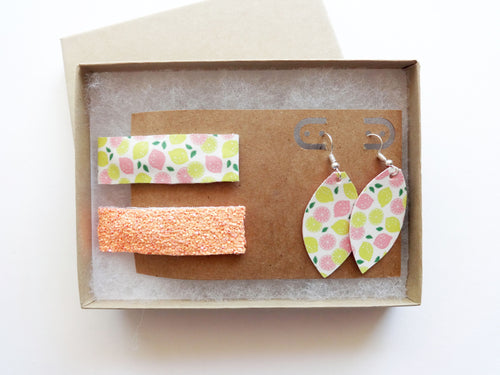 Skinny Snap Clip & Mini Leaf Earring Set