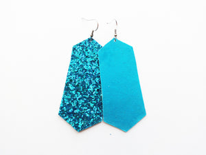 Turquoise Glitter Jewel Vegan Leather Earring