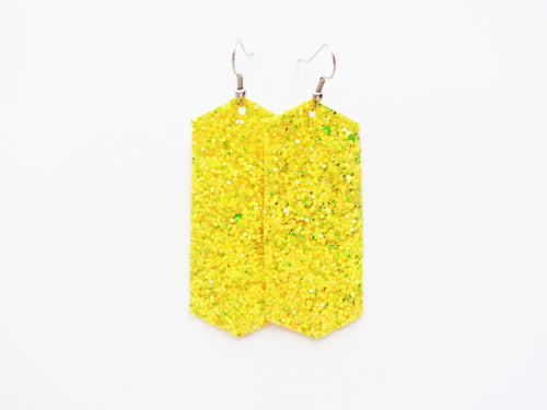 Electric Lemonade Glitter Crystal Vegan Leather Earring