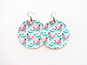Flamingo Float Round Vegan Leather Earring