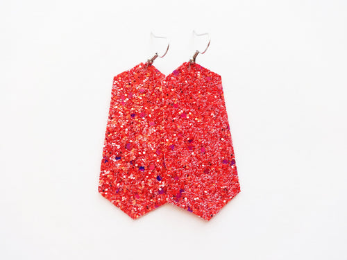 Shirley Temple Glitter Jewel Vegan Leather Earring