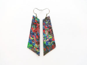 Abstract Watercolor Signature Vegan Leather Earrings