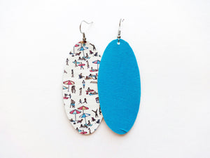 Day At The Beach Oval Vegan Leather Earring