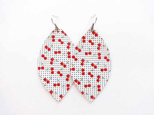 Cherry Picking Leaf Vegan Leather Earrings