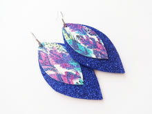 Blue Glitter Feather Double Layer Leaf Faux Leather Earring