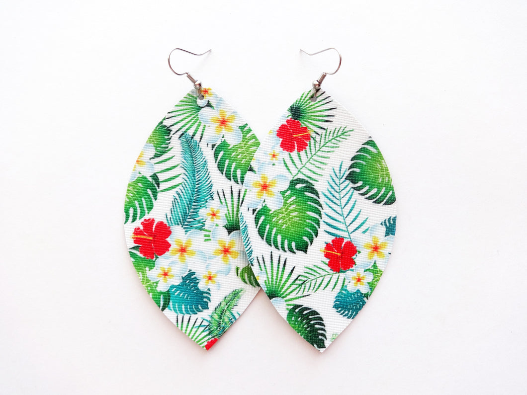 Paradise Leaf Vegan Leather Earrings