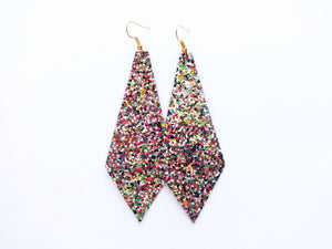Campfire Glitter Diamond Vegan Leather Earring
