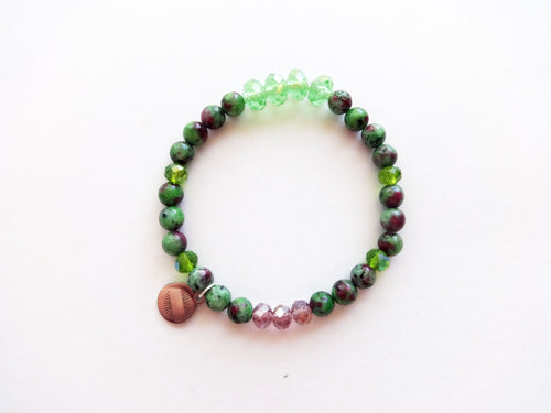 Green and Berry Beaded Bracelet
