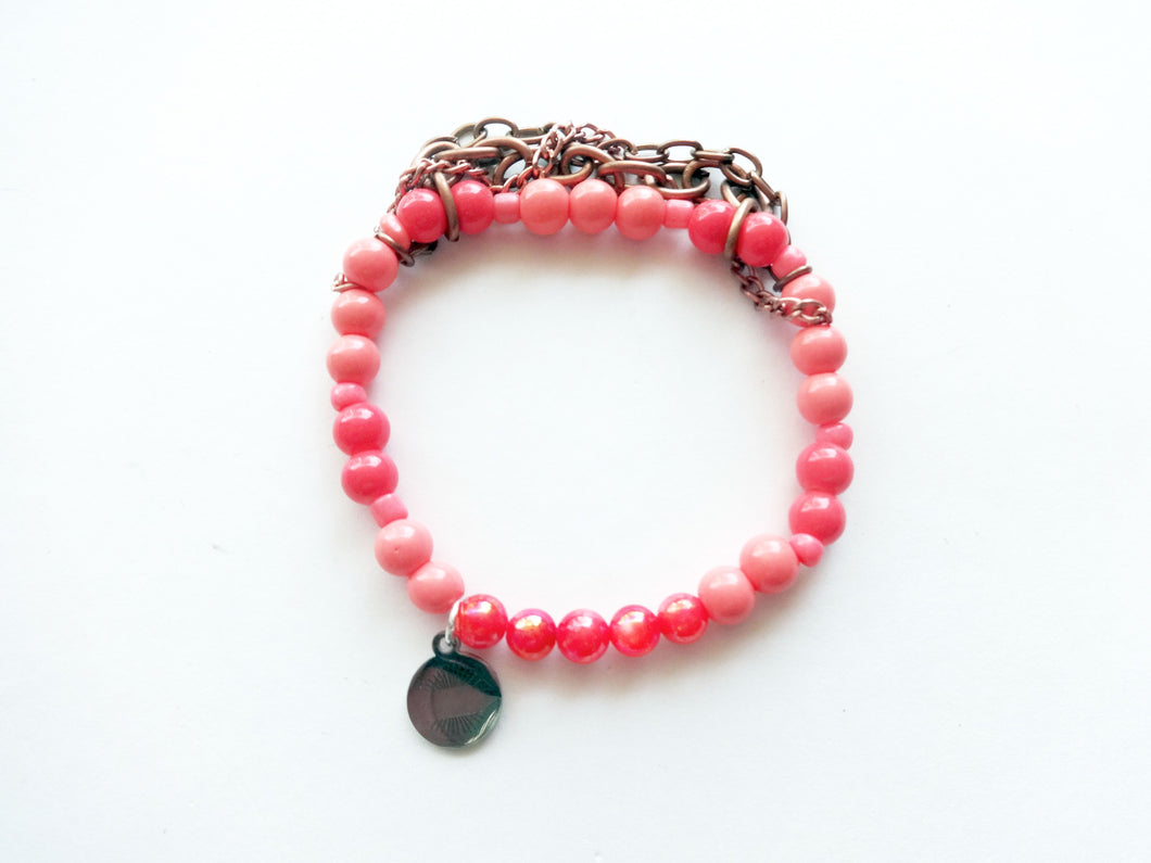 Coral & Rose Gold Chain Beaded Bracelet