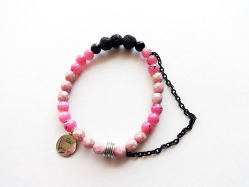 Pink Diffuser Chain Beaded Bracelet