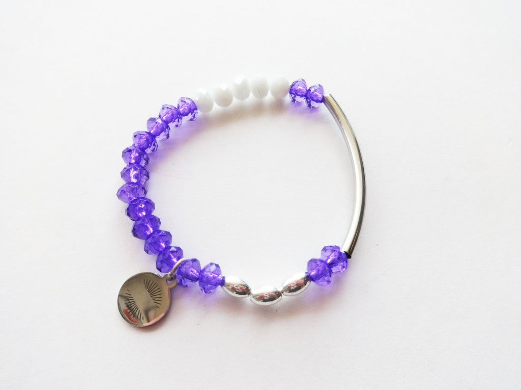 Purple & White Bar Beaded Bracelet