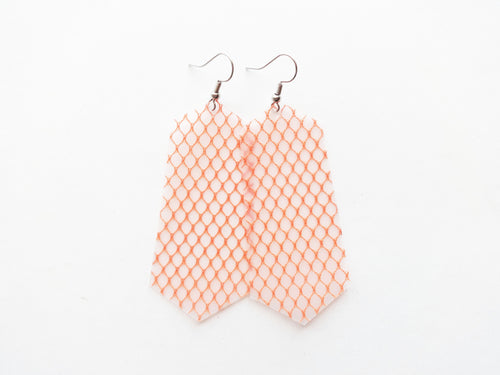 Orange Fishnet Vegan Jewel Pool Earrings