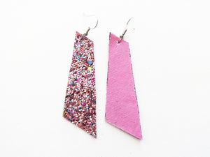 Bubblegum Glitter Signature Vegan Leather Earrings