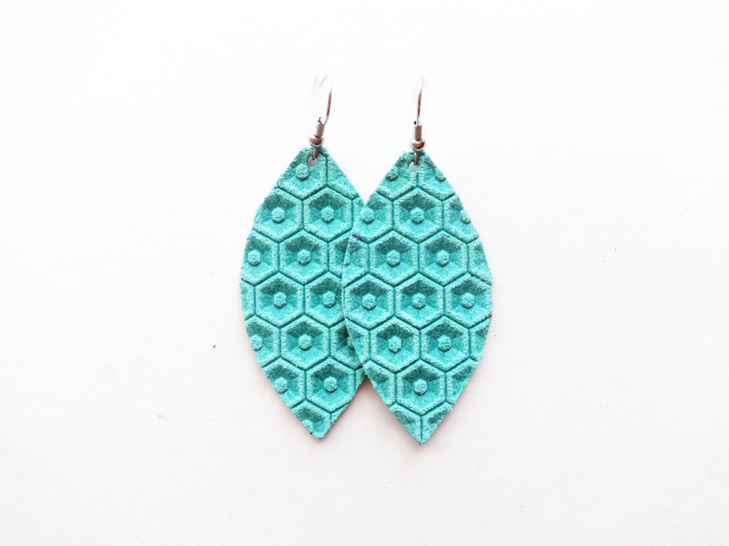 Electric Blue Honeycomb Leaf Genuine Leather Earring