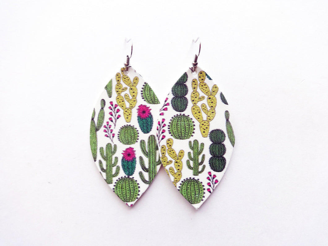 Cactus Makes Perfect Leaf Genuine Leather Earring