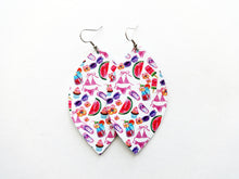 Beach Blanket Bingo Leaf Vegan Leather Earrings