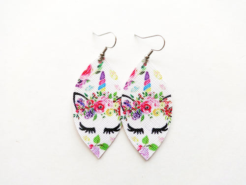 Pink Unicorn Leaf Vegan Leather Earrings