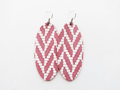 Pink Woven Oval Genuine Leather Earring