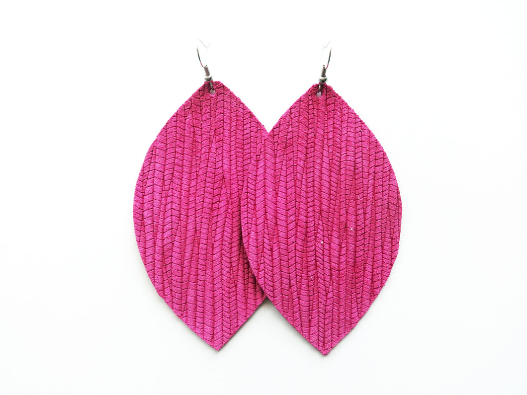 Pink Vine Leaf Genuine Leather Earring