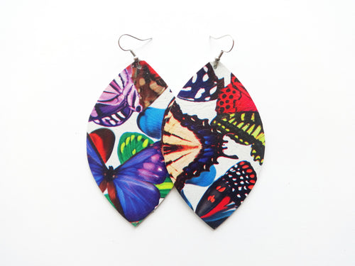 Butterfly Leaf Genuine Leather Earring