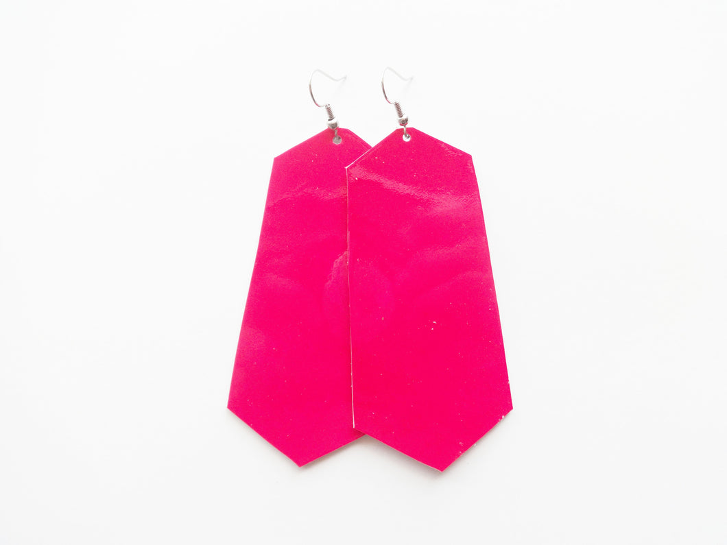 Hot Pink Patent Jewel Genuine Leather Earring