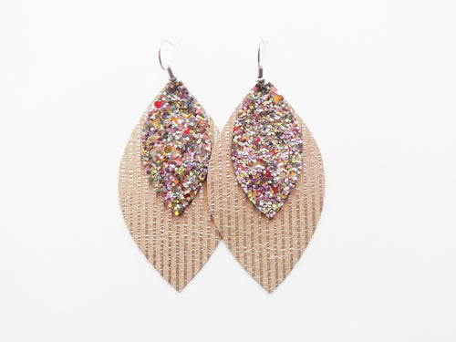 Beachy Keen Glitter Double Layer Leaf Genuine Leather Earring