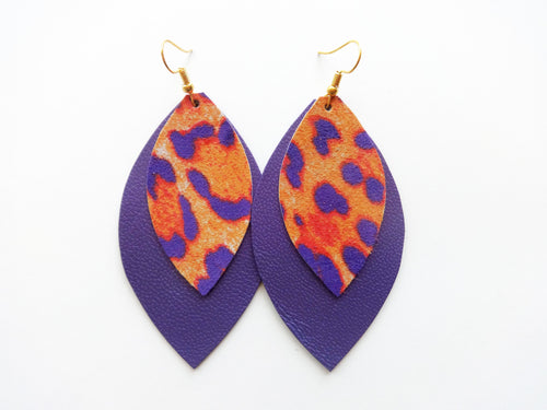 Neon Leopard Double Layer Leaf Genuine Leather Earring