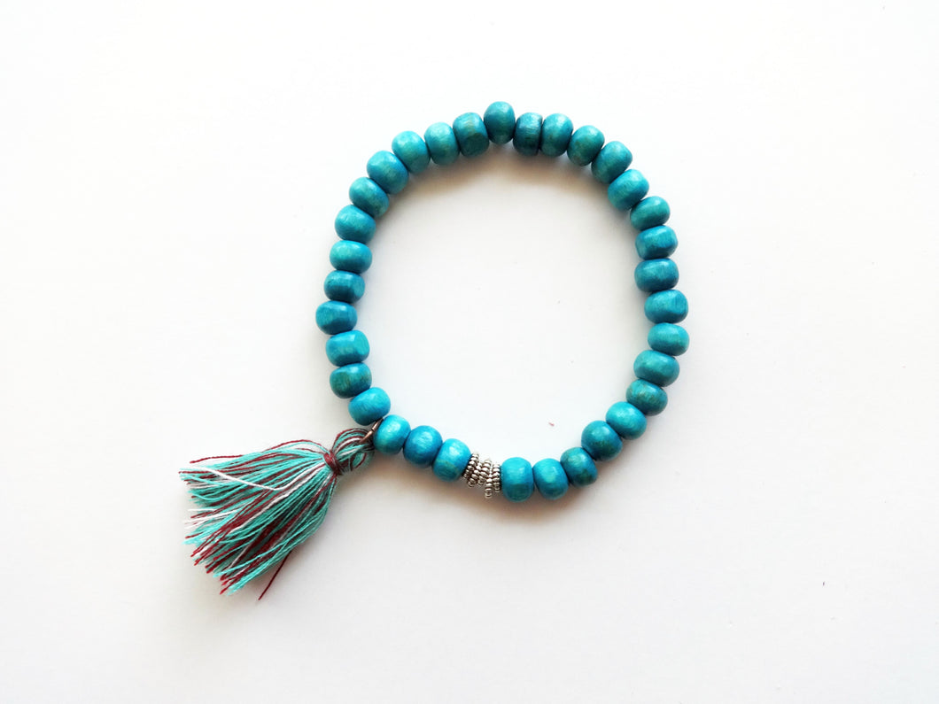Teal Beaded Tassel Stacker Bracelet