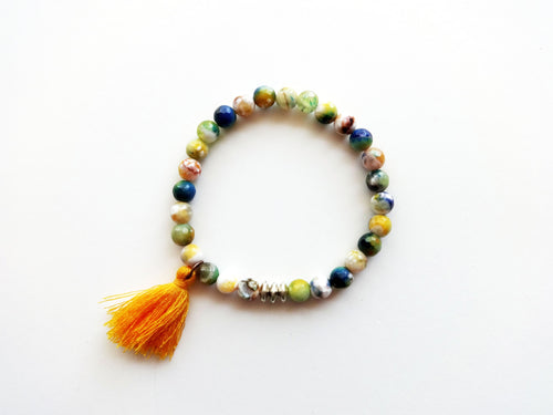 Green, Yellow, & Blue Beaded Tassel Stacker Bracelet