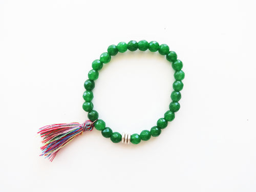 Green Beaded Tassel Stacker Bracelet