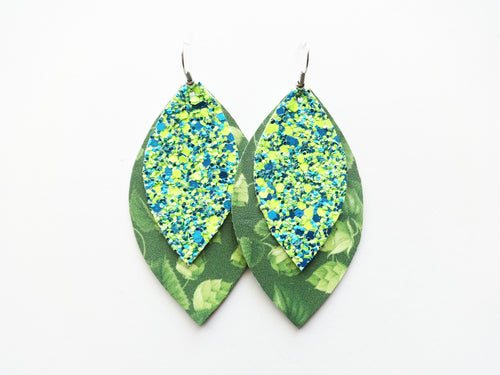 Hop Plant Beer Neon Green & Blue Glitter Double Layer Leaf Vegan Leather Earring